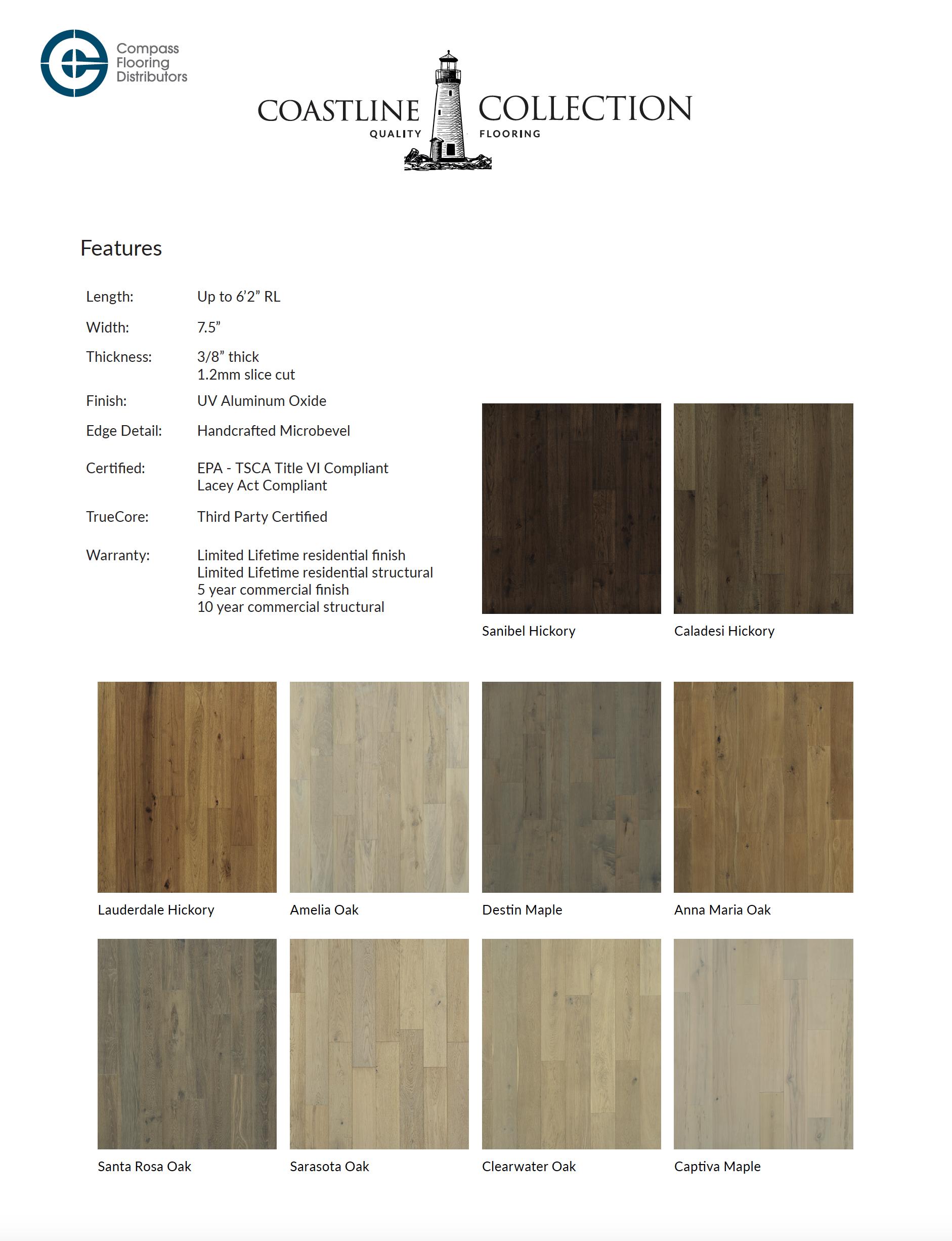 Coastline Specification sheet for Compass Flooring